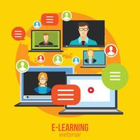 Webinar Online Training Utbildning Koncept Vector Distance Learning E-learning Conference Chat
