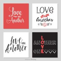 Handgeschreven Love One Another Typography Vectors