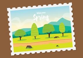 Illustration de timbre de printemps de paysage de printemps