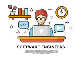 Los ingenieros de software trabajan en casa Vector
