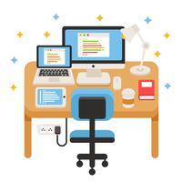 Software Engineers Work Desk Vector