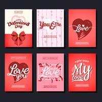 Coleção do vetor do cartão do Valentim
