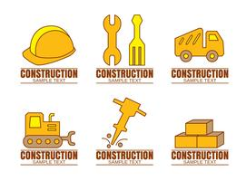Logos de construcción en blanco Vector