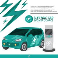 Electic Car en Charger Cool Concept Vector