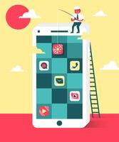 Software-ingenieurs Smartphone Apps Vlakke Illustratie Vector