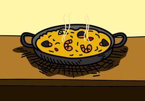 Paella con mariscos en la sartén