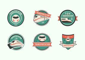 Etichetta di icona piatto ad alta velocità ferroviaria TGV treno città