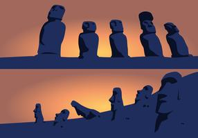 Silhouettes Of Easter Island Idols