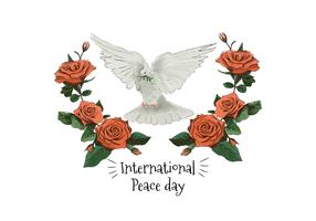 Watercolor White Pigeon And Red Roses To International Peace Day