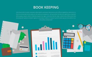 Flat design. Business concept with project. Bookkeeping illustration.