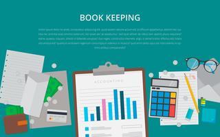 Design plat Concept d'entreprise avec le projet. Illustration de comptabilité.