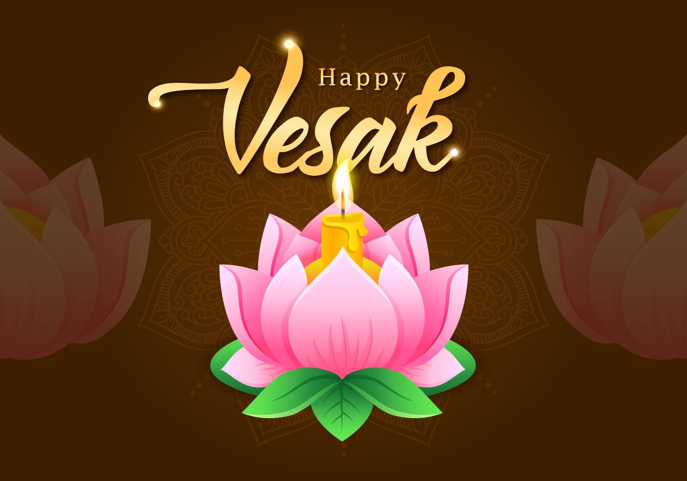 Vesak Greetings Lotus Flower Download Free Vector Art Stock