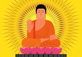 Buddha In Protection Position Illustration