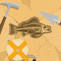 Fishbone Fossils Archaeologist Free Vector