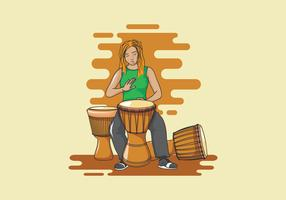 Djembe Musician Illustration