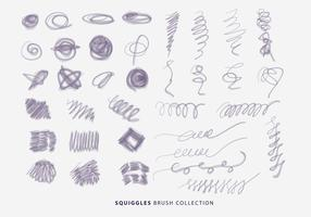 Naturliga Squiggles Borstar Hand Drawn Collection Vector
