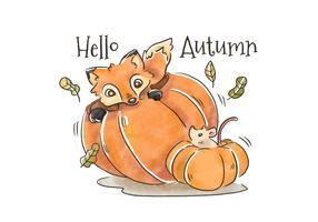 Cute Fox And Mouse Inside Pumpkin To Autumn Season