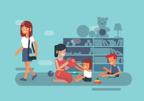 Niñera y niños en el vector de la biblioteca