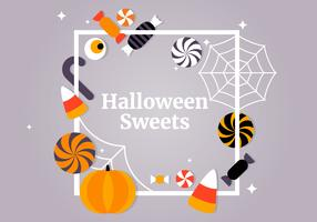 Collection d'éléments vectoriels gratuits Halloween bonbons