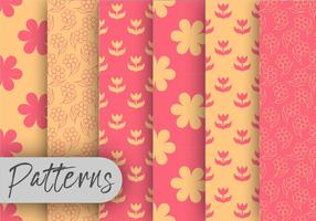 Coral And Orange Floral Pattern Set