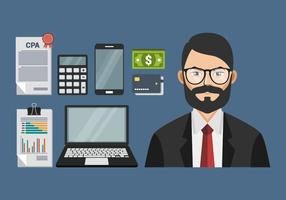 CPA Accountant With Man Element Vector Illustration