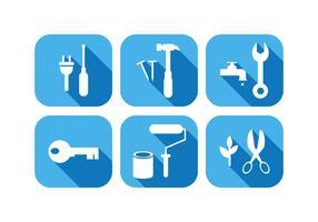 Arbeitswerkzeug-Ikonen im flachen Design-Vektor
