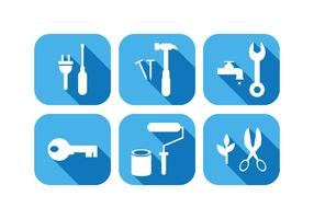 Work Tool Icons In Flat Design Vector