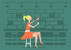 Mädchen 50s in einem Pudel-Rock-Illustrations-Vektor