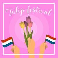 Ilustración de Vector de Flat Netherland Tulip Festival