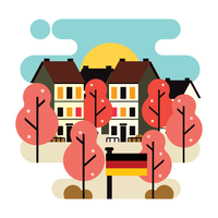 Flat Style Illustration of Springtime Bonn Germany