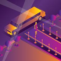 Hollywood Red Carpet Isometric Vector
