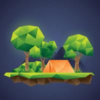 Lowpoly Forest Camp Vector
