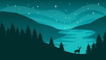 Northern Lights landscape Vector