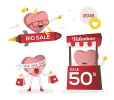 Valentines Day Sale Funny Character Vector Illustration
