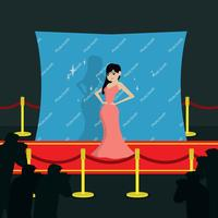 Super Star On Hollywood Red Carpet Illustration