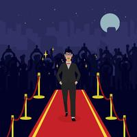 Man On Hollywood Red Carpet Illustration