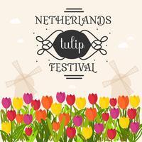 Netherlands Tulip Festival Poster Vector