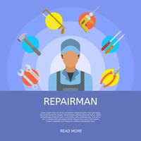Flat Repair Man Vector Illustration
