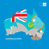 Australian Tennis Championship and Australian Map Illustration