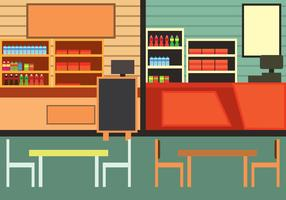 Food Court Vector Illustration