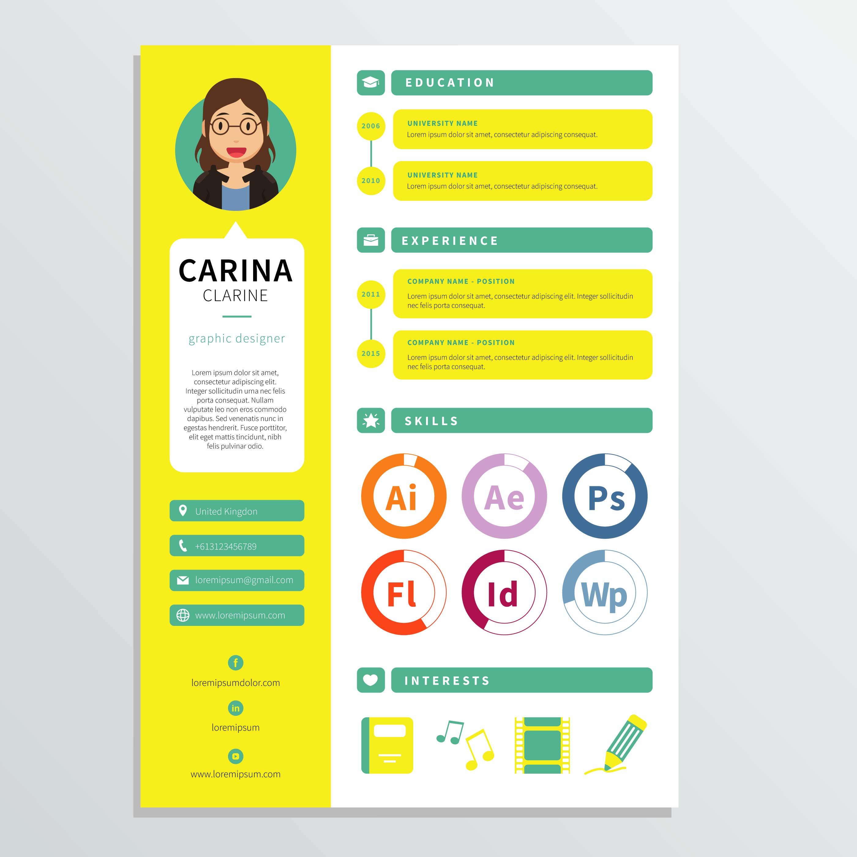 Graphic Designer Resume Template Download Free Vectors Clipart