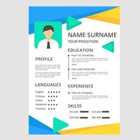 Modern Resume in Polygonal Style Template Vector