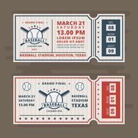 Boletos de invitación para el béisbol Vector