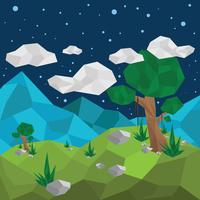 Låg Poly Forest View Vector