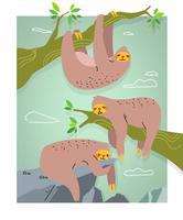 Lindo pereza personaje Doodle Vector Illustration