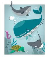 Illustration vectorielle de créatures sous-marines mignons