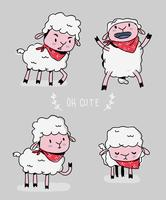 Cute Sheep Character Doodle Vector Illustration