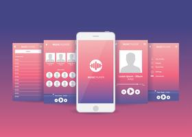 Mobile App Gui Music Player Vector