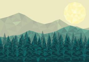 Low Poly Forest Landscape Vector Bacground