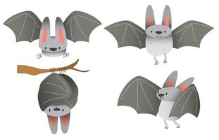 Cute Bat Character Vector Illustration